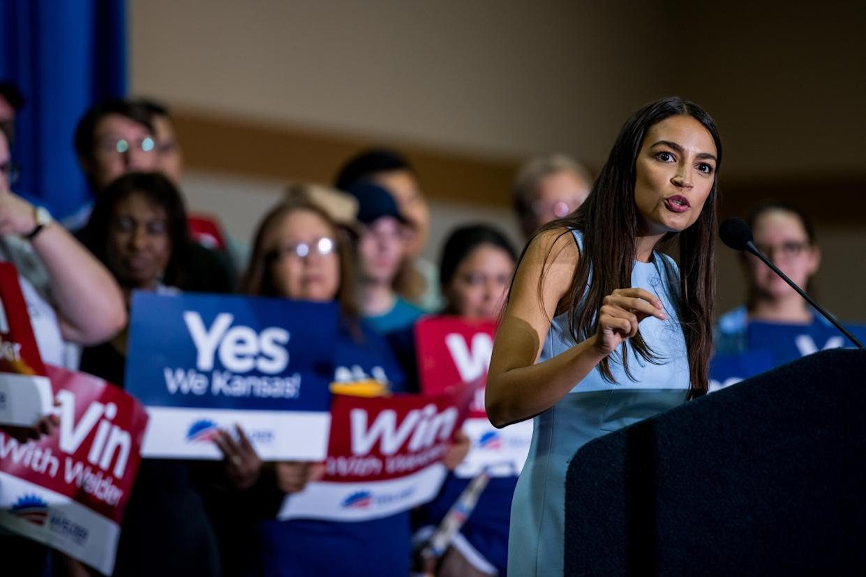"<span class=""s1"">Alexandria Ocasio-Cortez speaks in support of Brent Welder during a rally in Kansas City, Kan., on July 20. (Photo: Dan Videtich for the Washington Post)</span>"