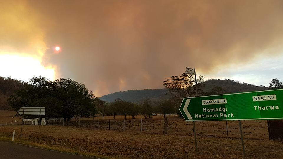 Pictured is the blaze in ACT. Source: AAP