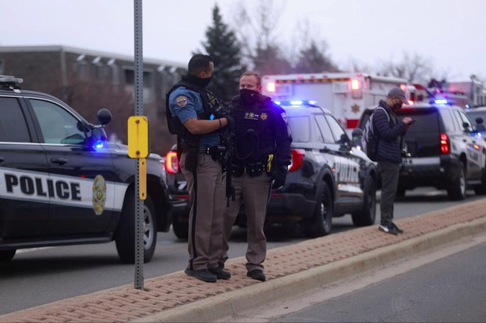 Police at the scene in Boulder, Colorado, where ten people were killed in a mass shooting last month.REUTERS