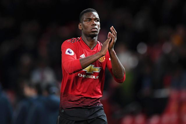 Paul Pogba applauds fans after Manchester United's defeat to Manchester City. (Credit: Getty Images)