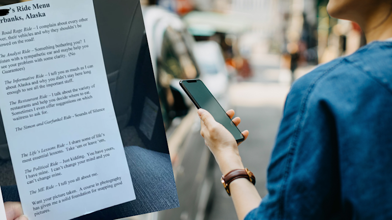 Pictured: Uber driver's viral ride menu and woman hailing an Uber. Image: Getty, Reddit (That1Girrrl)