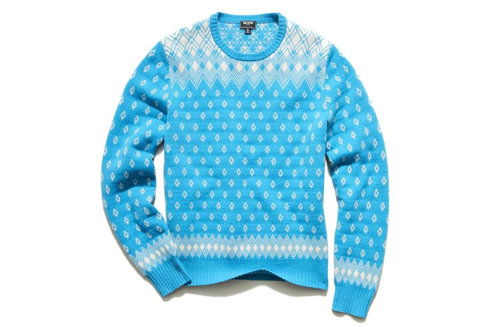 """$248, Todd Snyder. <a href=""""https://www.toddsnyder.com/collections/sweaters/products/retro-fairisle-crew-sweater-blue"""" rel=""""nofollow noopener"""" target=""""_blank"""" data-ylk=""""slk:Get it now!"""" class=""""link rapid-noclick-resp"""">Get it now!</a>"""