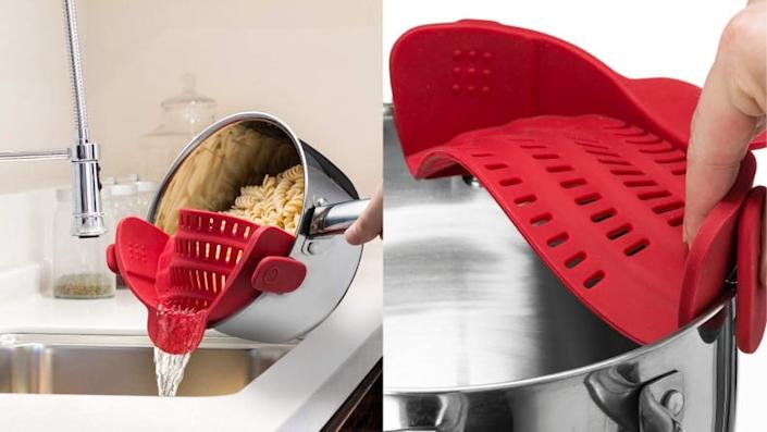 A clip-on strainer to cook all of your pasta