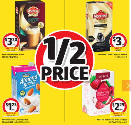 Coffee, almond mil and berries at half-price at Coles.