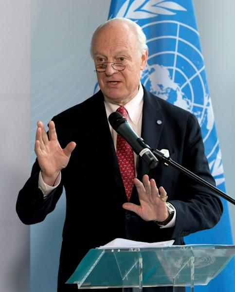 """""""We were and are concerned on the humanitarian side by Idlib. Because Idlib is the big new challenge, 2.5 million people,"""" UN Syria envoy Staffan de Mistura told the first day of the international donor conference in Brussels"""