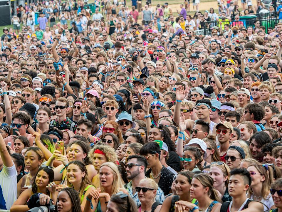 Large crowd of festival goers looking at stage