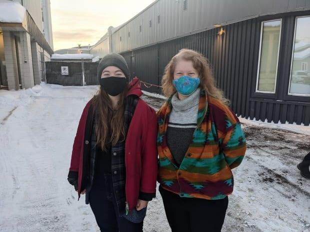 Shari Heal, right, and daughter Brianna were some of the first to get vaccinated at the Whitehorse clinic, which is now open to all adults. Brianna is 19, making her one of the youngest people eligible to use the clinic, which opened to those over 18 as of Monday. (Steve Silva/ CBC - image credit)