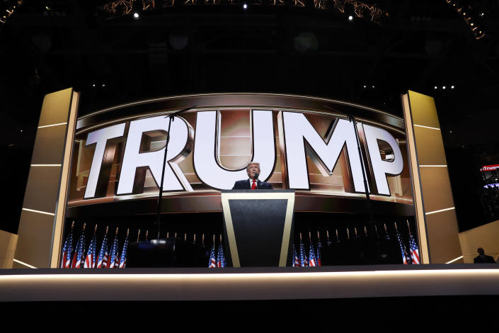 Then-Republican nominee Donald Trump speaks at the 2016 convention. (Carolyn Kaster/AP)