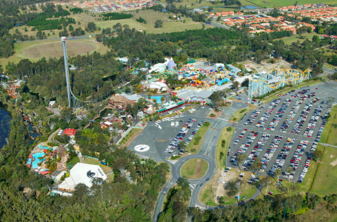 An aerial view of Dreamworld on the Gold Coast. Photo: Getty