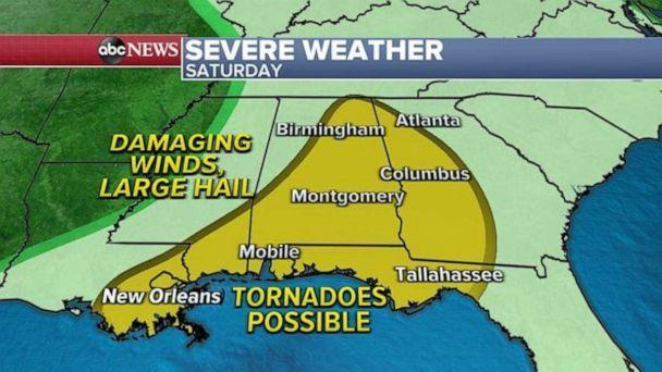 PHOTO: The severe weather threat will not move much Saturday, with tornadoes and damaging winds possible from New Orleans to Atlanta. (ABC News)