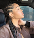 The perk of having goddess braids like Jordyn Woods does here? It draws all the attention to your face.