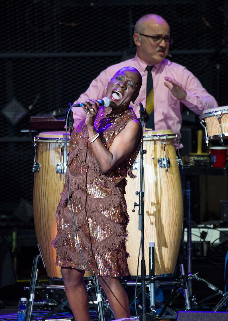 Sharon Jones performs at DTE Energy Music Theater on July 18, 2016 in Clarkston, Michigan. (Photo by Scott Legato/Getty Images)