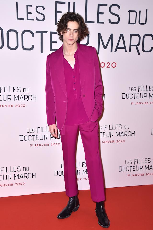"""<p>WHAT: Stella McCartney</p> <p>WHERE: The premiere of <em>Little Women</em> in Paris</p> <p>WHEN: December 12, 2019</p> <p>WHY: As if a silky smooth raspberry suit and pointy boots wasn't charming enough, Chalamet added <a href=""""https://www.gq.com/story/big-fit-of-the-day-12-12-19?mbid=synd_yahoo_rss"""">an Eiffel Tower keychain</a>.</p>"""