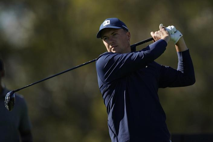 Jordan Spieth tees off on No. 17 in the second round of the Genesis Invitational at Riviera Country Club in February.