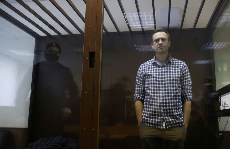 FILE PHOTO: Russian opposition leader Alexei Navalny hearing to consider an appeal against an earlier court decision to change his suspended sentence to a real prison term