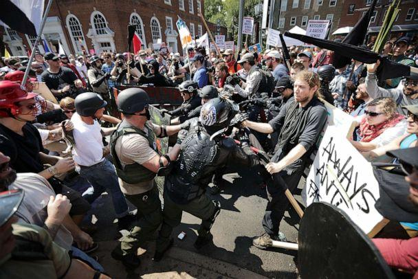 PHOTO: In this Aug. 12, 2017, file photo, white nationalists, neo-Nazis and members of the 'alt-right' clash with counter-protesters as they enter Emancipation Park during the 'Unite the Right' rally in Charlottesville, Va. (Chip Somodevilla/Getty Images, FILE)