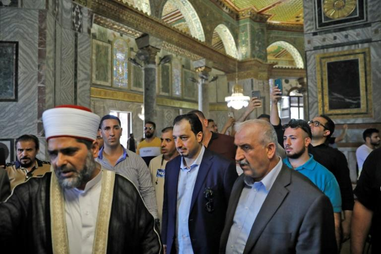 A Saudi football delegation visited east Jerusalem's Al-Aqsa mosque on October 14, 2019, one the eve of a groundbreaking trip to play a match against Palestinians in the occupied West Bank