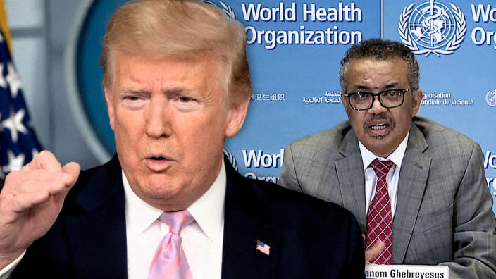 President Trump and WHO Director-General Tedros Adhanom Ghebreyesus. (Jim Watson/AFP via Getty Images, WHO video via AFP/Getty Images)