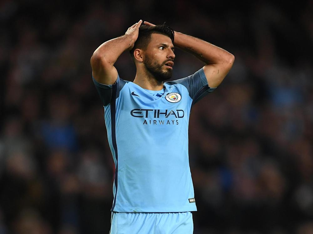 Aguero struck the post in the first half: Getty
