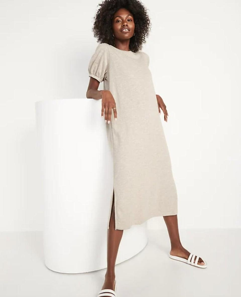 <p>Just like magic, this <span>Old Navy Puff-Sleeve Midi T-Shirt Shift Dress</span> ($40) manages to be both comfortable and casually stylish enough for everyday occasions. The side slit makes the silhouette even more relaxed and carefree.</p>
