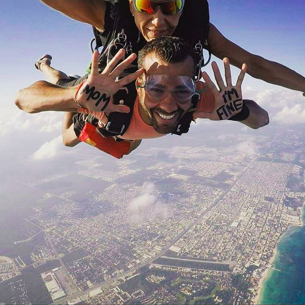 Still thinking of mom while skydiving in Mexico.