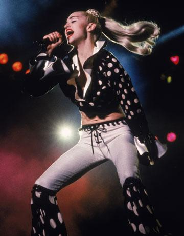 "<div class=""caption-credit""> Photo by: Getty Images</div><div class=""caption-title""></div><b>Madonna takes Japan, 1990</b> <br> Polka dot flared lace-up pants are an item we could love without, but Madonna made it work on stage."