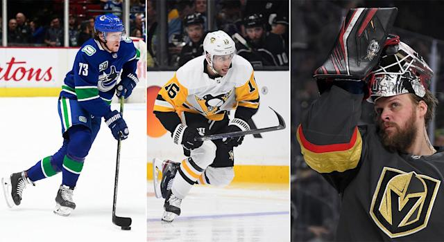 Tyler Toffoli of the Vancouver Canucks (left), Jason Zucker of the Pittsburgh Penguins (centre) and Robin Lehner of the Vegas Golden Knights (right) have found success quickly with their new squads. (Getty Images)