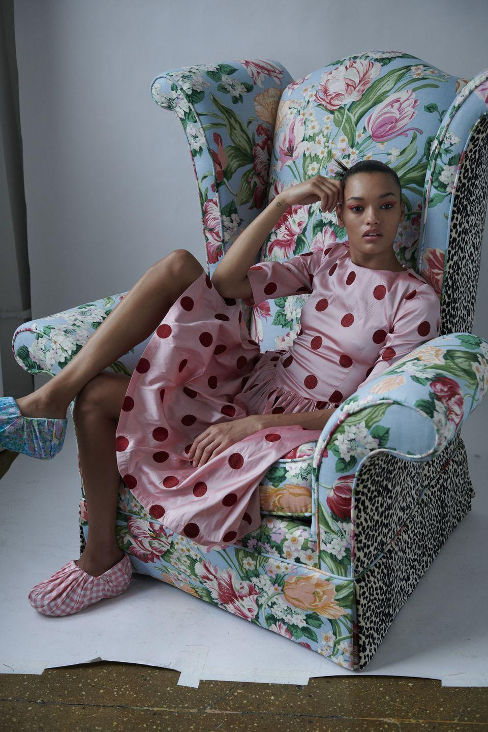 <p>Beautiful prints and prairie-inspired dresses defined Batsheva's latest collection, which was presented via a lookbook, and featured many of the label's signature silhouettes. The spotty satin frocks, puffy shoulders and gingham prints are trademark elements of the designer's collections and sat in the collection alongside button-up shirts and fun floral trousers.</p>