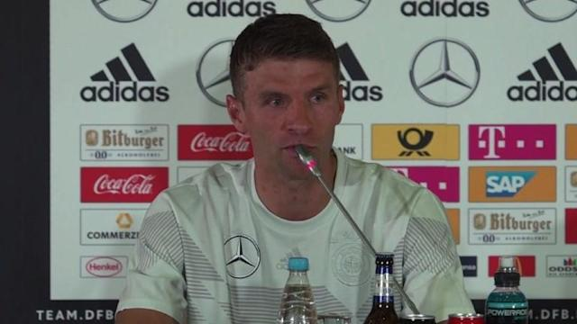 Germany star Thomas Mueller says the reigning world champions are feeling the pressure as they prepare for this weekend's game against Sweden at risk of an unthinkably premature exit.