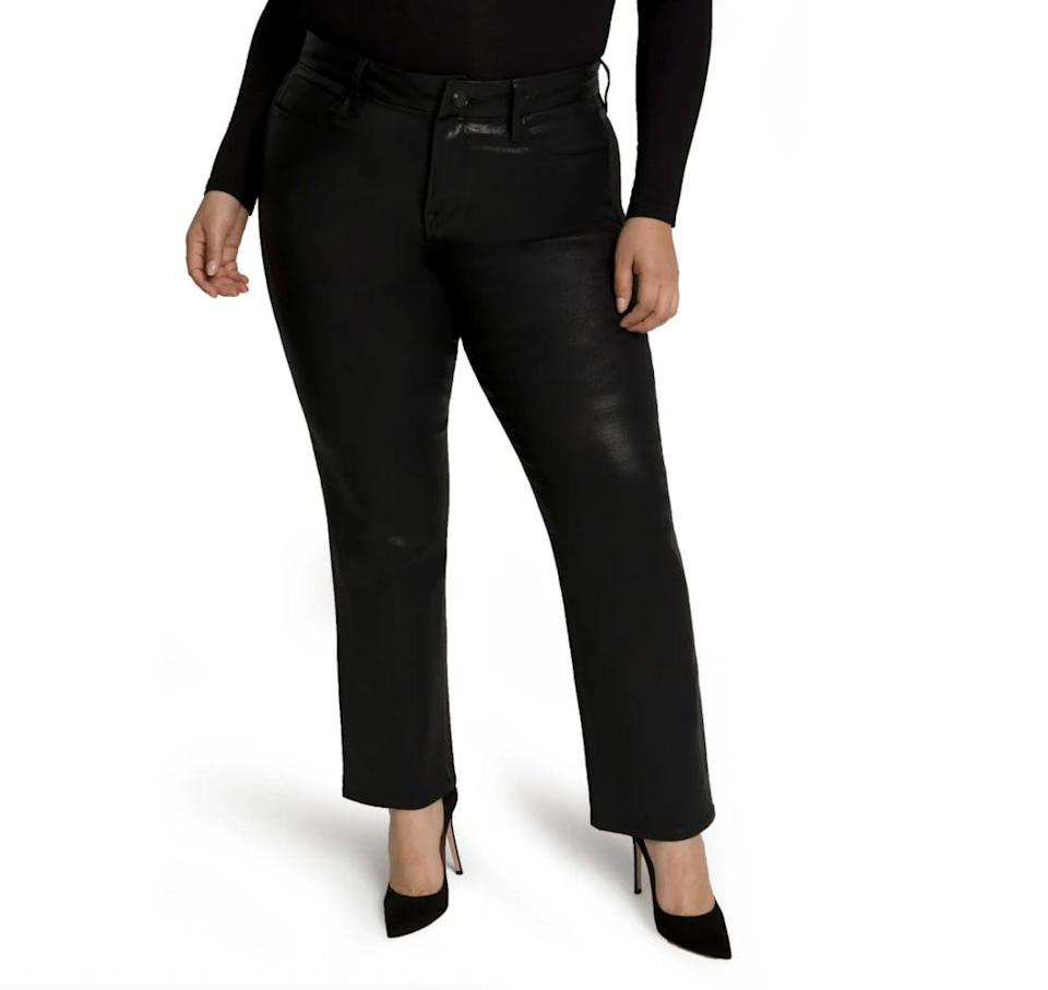 <p>The sleek coating of these <span>Good American Good Straight Coated Jeans</span> ($179) make them so much more elevated. We also love the shapely silhouette and the day-to-night wearability.</p>