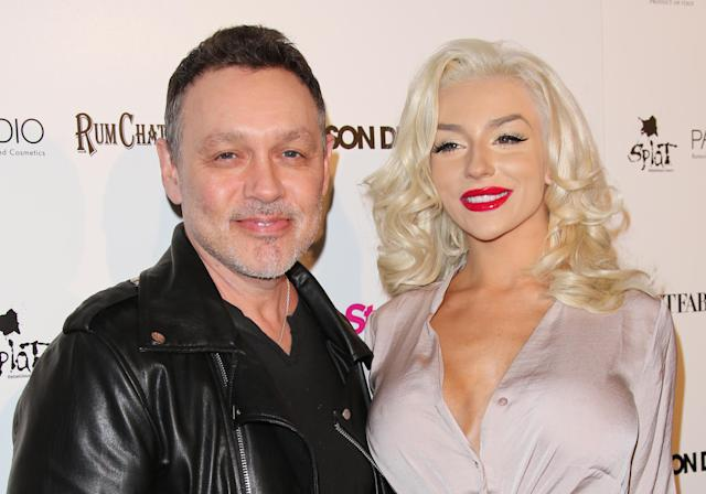 Actor Doug Hutchison and TV Personality Courtney Stodden at an event on April 15, 2015 in Hollywood, California. (Photo: FilmMagic)