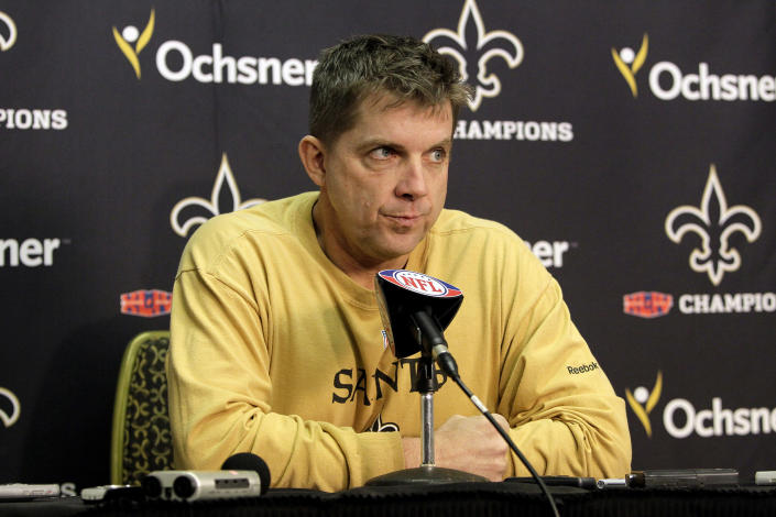 FILE - This Jan. 10, 2011 file photo shows New Orleans Saints head coach Sean Payton speaking at a news conference at the team's practice facility in Metairie, La. The NFL has suspended Payton for the 2012 season, and former Saints defensive coordinator Gregg Williams is banned from the league indefinitely because of the team's bounty program that targeted opposing players. Also Wednesday, March 21, 2012, Goodell suspended Saints general manager Mickey Loomis for the first eight regular-season games of 2012, and assistant coach Joe Vitt has to sit out the first six games. (AP Photo/Patrick Semansky, File)