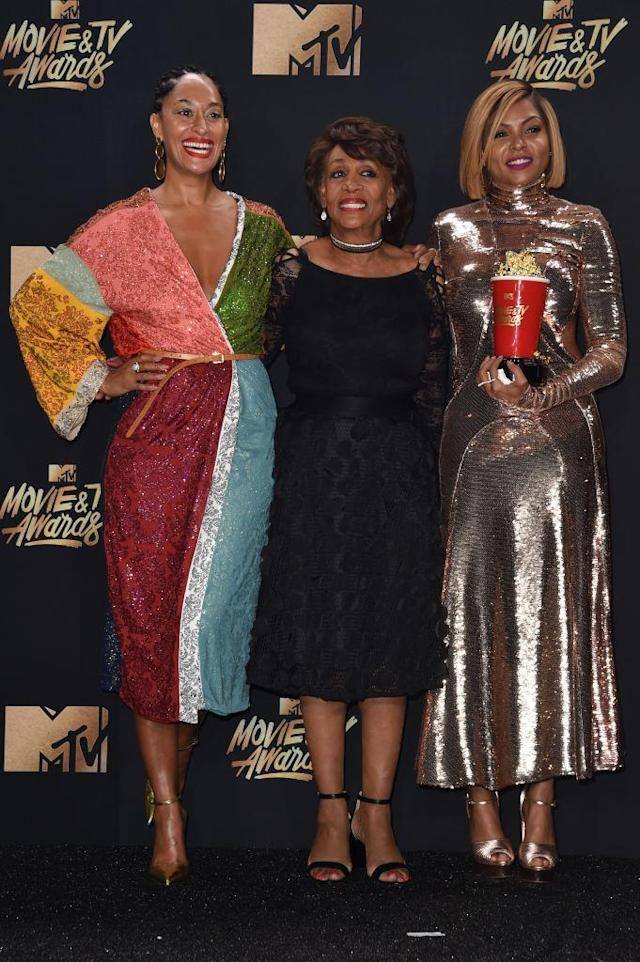 Tracee Ellis Ross, Rep. Maxine Waters, and Taraji P. Henson pose in the press room during the 2017 MTV Movie and TV Awards. (Photo: Alberto E. Rodriguez/Getty Images)