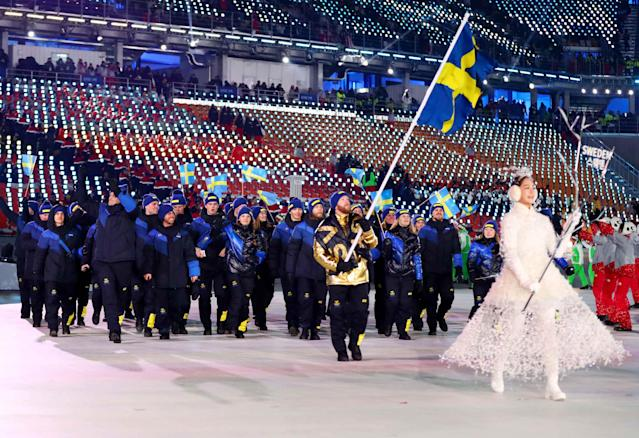 <p>Flag-bearer Niklas Edin's jacket was by far the hit of the Swedish outfits. After that, though, a fairly standard black-and-blue combo toned it down. </p>