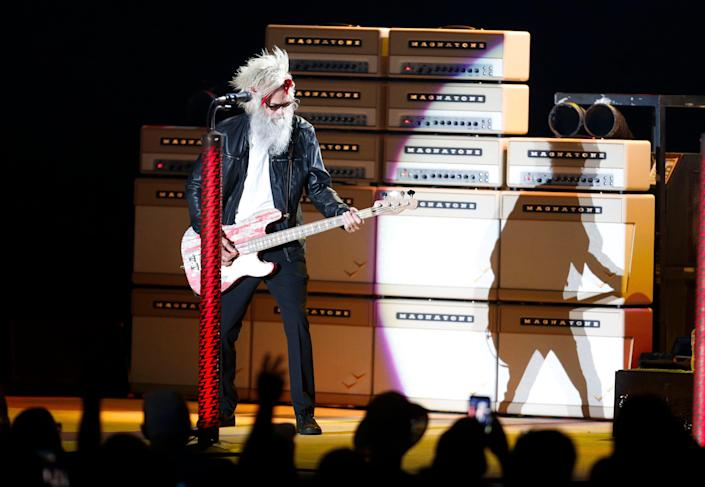 ZZ Top plays the Tuscaloosa Amphitheater Thursday, July 30, 2021, in Tuscaloosa, Ala., following the death of bass player Dusty Hill. Elwood Francis played bass in place of Hill during Friday night's concert. [Staff Photo/Gary Cosby Jr.]