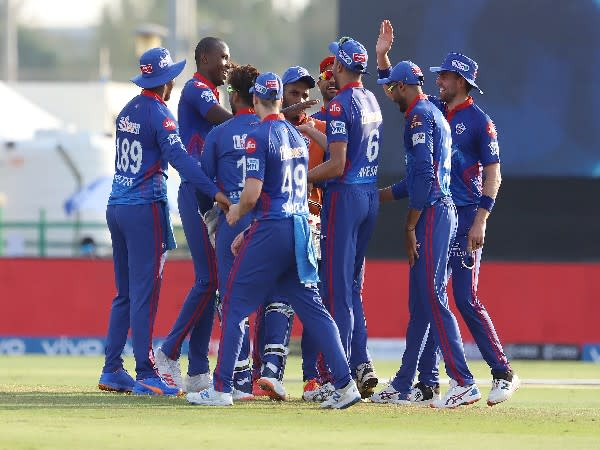 DC players during the match against RR. (Photo: Twitter/IPL)