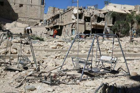 Swings are seen in a damaged site after airstrikes on the rebel held Tariq al-Bab neighbourhood of Aleppo, Syria September 24, 2016. REUTERS/Abdalrhman Ismail
