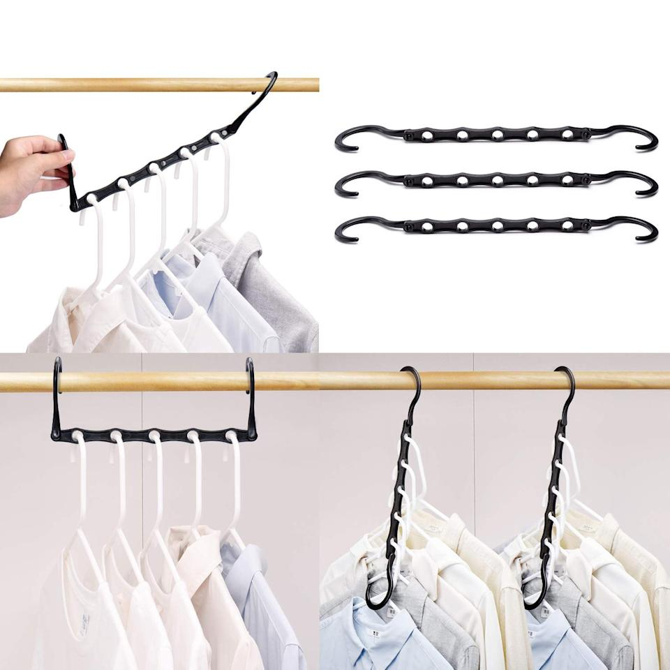 "<p>These smart <a href=""https://www.popsugar.com/buy/House-Day-Black-Magic-Hangers-487846?p_name=House%20Day%20Black%20Magic%20Hangers&retailer=amazon.com&pid=487846&price=14&evar1=casa%3Aus&evar9=45654164&evar98=https%3A%2F%2Fwww.popsugar.com%2Fhome%2Fphoto-gallery%2F45654164%2Fimage%2F46673162%2FHouse-Day-Black-Magic-Hangers&list1=shopping%2Corganization%2Chome%20organization%2Cbest%20of%202019&prop13=mobile&pdata=1"" rel=""nofollow"" data-shoppable-link=""1"" target=""_blank"" class=""ga-track"" data-ga-category=""Related"" data-ga-label=""https://www.amazon.com/HOUSE-DAY-Household-Wardrobe-Oragnizer/dp/B018JMMCLU/ref=sr_1_16?keywords=best+bedroom+organizers&amp;qid=1567707793&amp;s=gateway&amp;sr=8-16"" data-ga-action=""In-Line Links"">House Day Black Magic Hangers</a> ($14) will save you tons of hanging room.</p>"