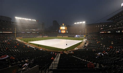 The tarp covers the field during a rain delay before a baseball game between the Baltimore Orioles and the Kansas City Royals, Saturday, Aug. 11, 2012, in Baltimore. (AP Photo/Nick Wass)