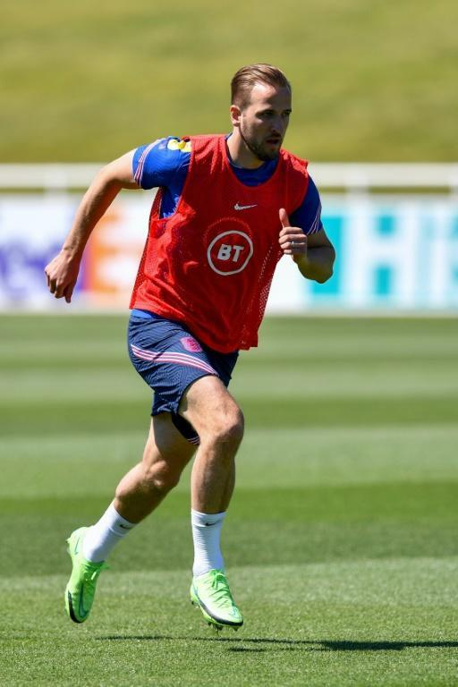 England captain Harry Kane takes part in training