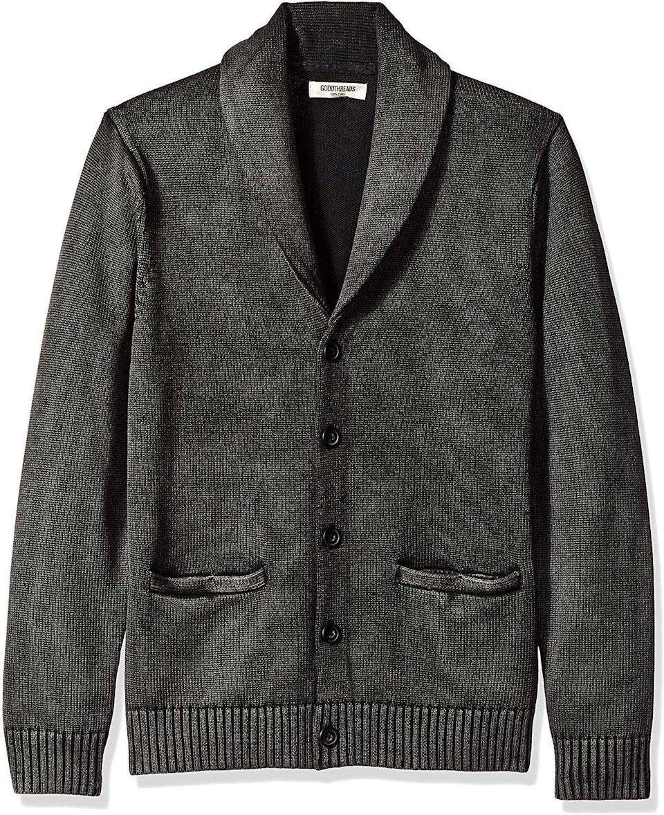 <p>This <span>Goodthreads Men's Soft Cotton Shawl Cardigan Sweater</span> ($40) is perfect for the office.</p>