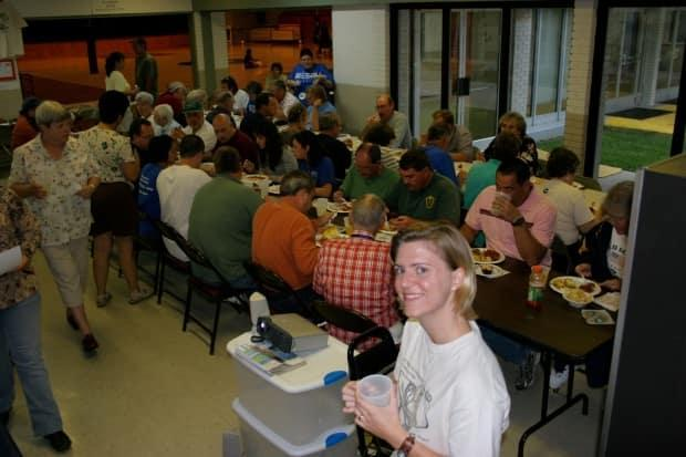 Courtney Pellegrin-Howell leads a group of hurricane relief volunteers in Chauvin, La. (Submitted by Courtney Pellegrin-Howell - image credit)