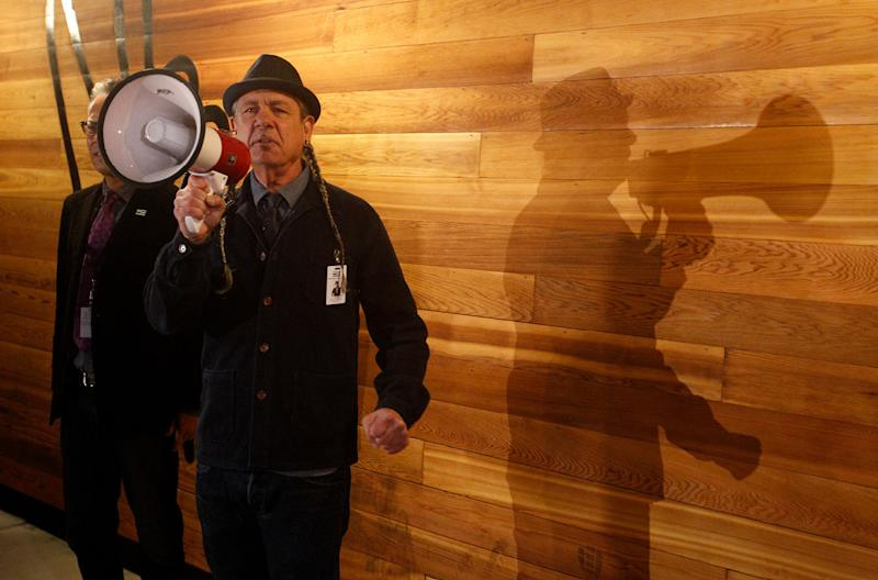 Steve DeAngelo welcomes costumers to his Harborside marijuana dispensary in Oakland on Jan. 1, 2018, the first day recreational marijuana can be sold legally in California.