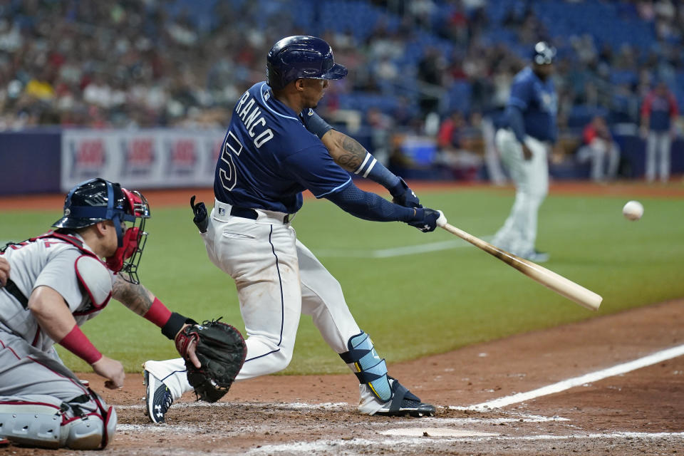 Tampa Bay Rays' Wander Franco (5) connects for a three-run home run off Boston Red Sox starting pitcher Eduardo Rodriguez during the fifth inning of a baseball game Tuesday, June 22, 2021, in St. Petersburg, Fla. (AP Photo/Chris O'Meara)