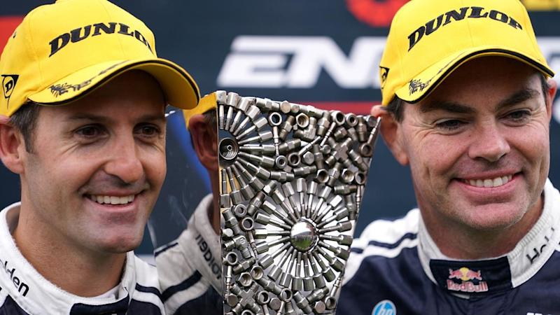 Jamie Whincup (L) and veteran Craig Lowndes have won the Sandown 500 and Supercars' Enduro Cup