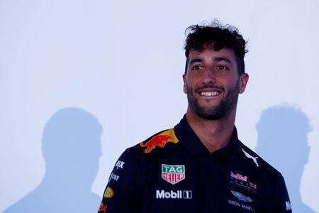 FILE PHOTO: Red Bull Formula One driver Daniel Ricciardo of Australia, reacts during a private event ahead of the Mexican F1 Grand Prix in Mexico City, Mexico, October 25, 2017. REUTERS/Carlos Jasso