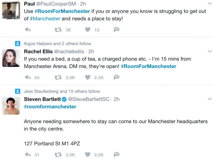 Manchester locals offer support to concert-goers caught up in blast