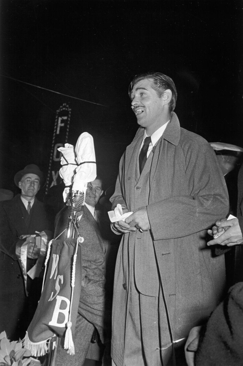 "<p><em>Gone With the Wind</em> star Clark Gable addresses fans at the 1939 Atlanta premiere of <em>Gone With the Wind</em>, which went on to gross over $400 million ($3.44 billion today)–making it one of the highest-grossing movies in history.</p><p><strong>Related: <a href=""https://www.housebeautiful.com/lifestyle/g4573/gone-with-the-wind-facts/"" rel=""nofollow noopener"" target=""_blank"" data-ylk=""slk:25 Things You Didn't Know About &quot;Gone with the Wind&quot;"" class=""link rapid-noclick-resp"">25 Things You Didn't Know About ""Gone with the Wind""</a></strong></p>"