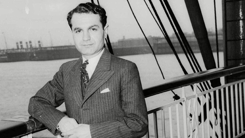 Luther Simjian is photographed as he arrives in New York City in April 1935. Simjian, an inventor who held more than 200 patents on items including the automated teller machine, the self-focusing camera and the Teleprompter