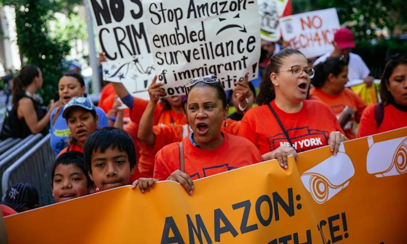 Amazon workers protest outside Jeff Bezos's apartment in New York City, July this year.